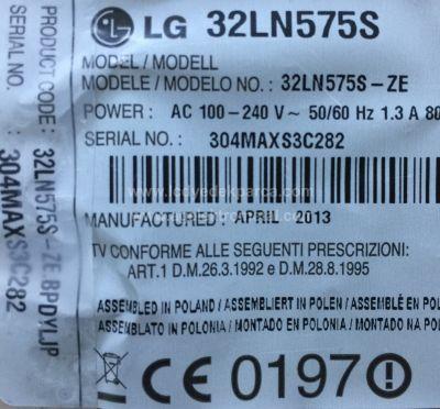 LG , LC320DUE SF R1 , LSC320AN02 , 32LN575S , SN032DLD12AT050-KTM , 6916L-1105A , 6916L-1106A , 3 ADET LED ÇUBUK